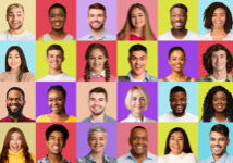 Multiple Portraits Of Multiethnic People In Collage Over Different Colorful Backgrounds. Happy Women And Men Of Different Age And Ethnicity Smiling To Camera. Collage Of Headshots, Panorama